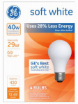 G E Lighting 66246 A-Line Halogen Light Bulb, White, 29-Watt, 4-Pk.