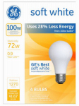 G E Lighting 66249 A-Line Halogen Light Bulb, Soft White, 72-Watt, 4-Pk.