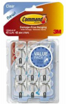 3M 17067CLR-VP Clear Wire Hooks w/ Clear Adhesive Strips Value Pack