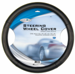 Custom Accessories 38853 Steering Wheel Cover, Black Leatherette, One Size