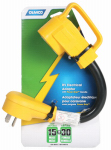 Camco Mfg 55163 RV PowerGrip Electric Adapter, 15A Male to 30A Female, 12-In.