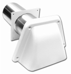Lambro Industries 1472W Dryer Vent Hood With Tail Piece, Removable Screen & Sleeve, Commercial Grade, White, 4 x 8-In.