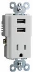 Pass & Seymour TM8USBWCC6 USB Charger  Combo with Outlet Receptacle, White, 15-Amp