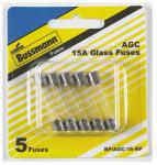Cooper Bussmann BP-AGC-15-RP Glass Fuses, 15A, 0.25 x 1.25-In., 5-Pk.