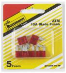 Cooper Bussmann BP-ATM-10-RP Mini Blade Auto Fuse, 10A, 32V, 5-Pk.