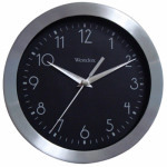 Nyl Holdings/Westclox 36001 Wall Clock, Black & Silver, 9-In.