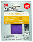 "3M 99662ES 3M(TM) SandBlaster(TM) 10 Pack, 180 Grit, 4.5""x5.5"" Sanding Sheet For Palm Sanders - 99662ES"
