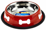 Westminster Pet Products 19216 Pet Bowl, Red/White Stainless Steel, 16-oz.