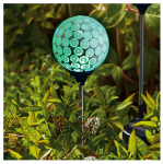 Forever Gifts S120901314-G LED Solar Stake Light, Mint Green Mosaic Sphere, 30-In. Height