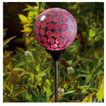 Forever Gifts S120901314-L LED Solar Stake Light, Lilac Mosaic Sphere, 32-In. Height