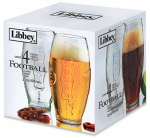 Libbey Glass 2233S4 Embossed Football Tumbler Glass Set, 23-oz., 4-Pc.