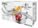 Libbey Glass 56280 Bakeware Set, Clear Glass, 4-Pc.