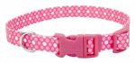 Coastal Pet Products 06321 A PDT12 Dog Collar, Adjustable, Dot, Pink Nylon, 3/8 x 8-12-In.