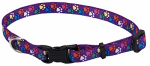 Coastal Pet Products 06902 A SPW26 Dog Collar, Adjustable, Paws, Nylon, 1 x 18-26-In.