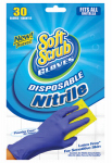 Big Time Products 11130-26 Disposable Nitrile Gloves, Latex & Powder Free, Blue, One Size, 30-Ct.