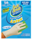 Big Time Products 11350-16 Disposable Latex Gloves, Powder Free, One Size, 50-Ct.