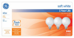G E Lighting 44742 40-Watt White Globe Light Bulbs, 3-Pk.