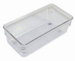 Interdesign 52330 Linus Drawer Organizer, Clear/Chrome Plastic, 3 x 6 x 2-In.