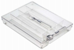 Interdesign 53930 Cutlery Tray, Clear/Chrome, 10.8 x 13.8 x 2-In.