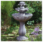 Alpine USA140 Garden Fountain, 3-Tier Daisy, Polyresin & Fiberglass, 33 x 18 x 18-In.