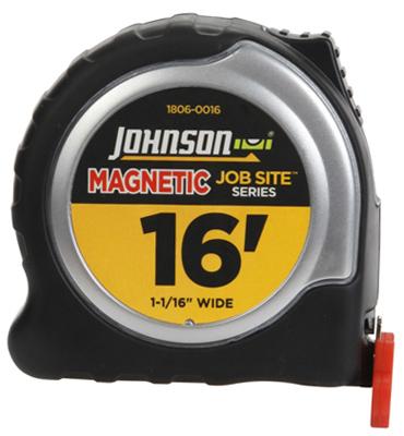 Johnson 1806-0016 Job Site Power Tape Measure, Magnetic Tip,