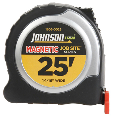 Johnson 1806-0025 Job Site Power Tape Measure, Magnetic Tip,
