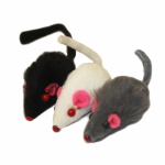 Multipet International 36498 Cat Toy, Real Fur Mice Catnip, 1.25-In.