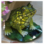 Allen Group Intl AG55614-01F Solar Lawn Ornament, Stained-Glass Frog, 7.5 x 7.2 x 7.2-In.