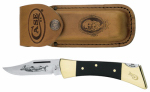 W R Case & Sons Cutlery 00177 Hammerhead Lockback Pocket Knife, With Leather Sheath, Etched Stainless Steel/Black Synthetic, 5-In. Length Closed