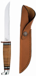 W R Case & Sons Cutlery 00381 Hunter Knife, With Leather Handle & Sheath, 5-In. Swept Skinner Stainless Steel Blade, 9-1/2-In. Overall Length