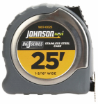 Johnson Level & Tool 1807-0025 Big J Power Tape Measure, Nylon-Coated Blade/Molded Stainless Steel Case, 1-3/16-In. x 25-Ft.