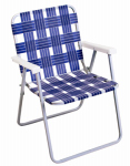 Rio Brands BY055A-0138 Folding Chair, Aluminum & Woven Blue Webb