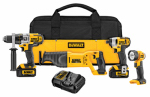 Black & Decker/Dewalt DCK490L2 Max Cordless Lithium-Ion 4-Tool Kit, Hammer Drill + Reciprocating Saw + Impact Driver + Light, 20-Volts