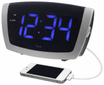 La Crosse Technology 75904 Digital Blue LED Alarm Clock With USB, 1.8-In.