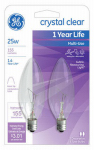 G E Lighting 74978 Light Bulb, Candelabra, Clear, 25-Watt, 2-Pk.