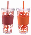 Lifetime Brands 5095310 Iced Beverage Cup, Single-Wall Plastic, Red Sleeve, 24-oz., 2-Pk.