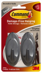 3M 17086G Terrace Hook, Graphite, Medium, 2-Pk.