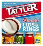 Tattler Home Products 1020-1 Reusable Canning Lids and Rings, Wide Mouth, 24-Pc.