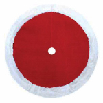 Dyno Seasonal Solutions 0202004ZSACC Christmas Tree Skirt, Plush Red & White, 48-In.
