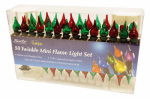 Sienna G6256N11 Christmas Light Set, Red, Green & Clear Iridescent, Shimmer Flame, 50-Ct.