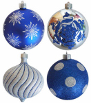 Christmas By Krebs TV310006A Decorated Shatterproof Ornament, Assorted, 5.9-In.