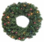 Noma/Inliten-Import 60087-88 LED Ludwig Artificial Christmas Wreath, Color-Changing, Battery-Operated, 24-In.