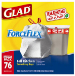 Clorox The 78537 Force Flexible or Flex Tall Kitchen Garbage Bag, Drawstring, 13-Gal., 76-Ct.