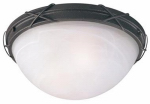 Westinghouse Lighting 69407 Ceiling Light Fixture, Indoor/Outdoor, Brown Patina & White Alabaster Glass, 12.63 x 5-In.