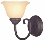 Westinghouse Lighting 62227 Wall Light Fixture, Indoor, Dark Bronze & Antique Amber Glass, 60-Watt, 6.25 x 8.125-In.