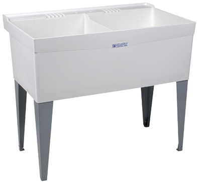 Laundry Tub Legs : ... -Gallon White Thermoplastic Double Laundry Tub with Steel Legs eBay