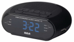 Audiovox RC207 Portable Clock Radio, Dual USB, Black