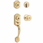 Kwikset 553MNHHXJ 3 SMT CP Montara Entry Handleset, 2-Point Locking, Polished Brass