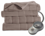 Jarden Consumer Services BSF9GQS-R772-13A00 Heated Electric Blanket, Fleece, 10 Settings, Mushroom Color, Queen Size