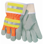 Safety Works SWX00107 Safety Gloves, Hi-Viz, Leather Palm, Large